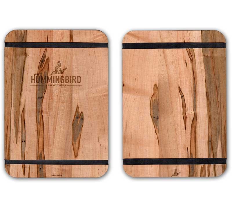 Hummingbird Restaunrant-Custom Logo Wood Banded Menus