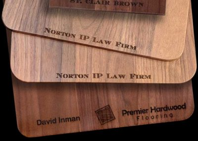 You Name Company or Personal Message on Any Hardwood Clipboard, Cutting Board or Phone Charger from Winwood Designs