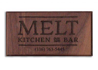 Melt Bar Restaurant -Custom Engraved Magnetic Wood Business Card - WinWoodDesigns.com