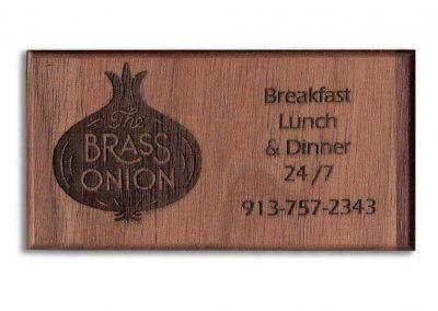 Brass Onion Custom Engraved Wood Business Card Refrigerator Magnets - WinWoodDesigns.com