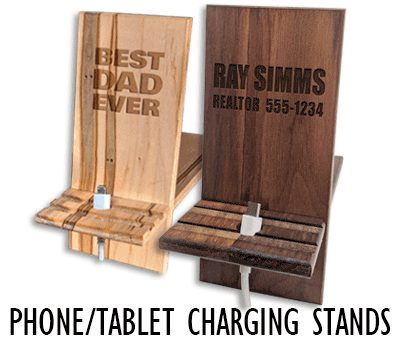 Handcrafted Custom Engraved Wood Phone Charging Stand & Personalized Tablet or Cell Phone Stand - Winwood Designs